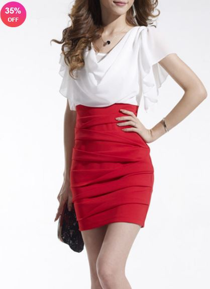 Round Neck Color Block Petal Sleeve Bodycon Dress