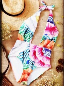 Cut Out Printed Halter One-Piece Swimwear