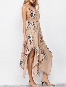 Floral Maxi Handkerchief Casual Slip Dress