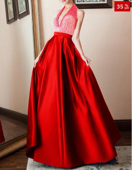 Deep V-Neck Plain Evening Dress