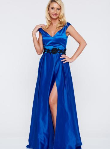 Rochie Artista albastra de ocazie din material satinat cu bust buretat