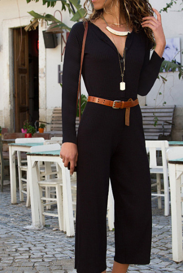 V Neck Decorative Buttons Plain Long Sleeve Jumpsuits