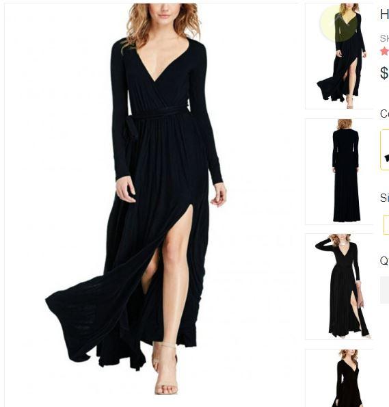 Honey Black Long-Sleeved High Slit Maxi Dress Chic Online