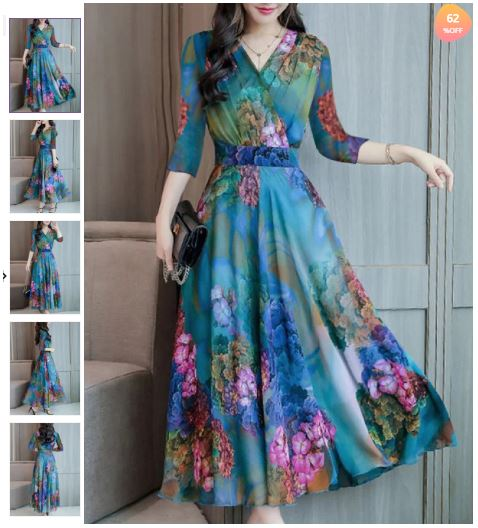 Abstract Style Print Dress Maxi Dres