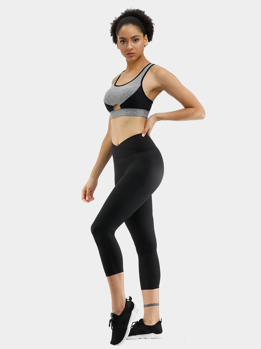 FEELINGIRL CALF-LENGTH CRISSCROSS WAIST YOGA WORKOUT CAPRIS LEGGINGS